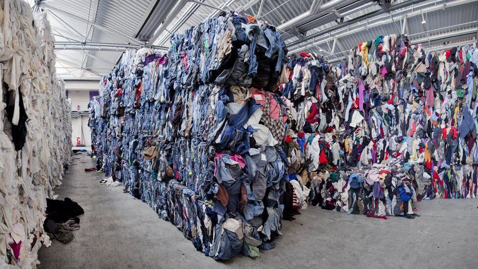 Piles of clothes for recycling