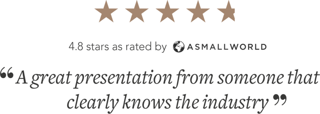 """4.8 star rating """"A great presentation from someone that knows the industry"""""""